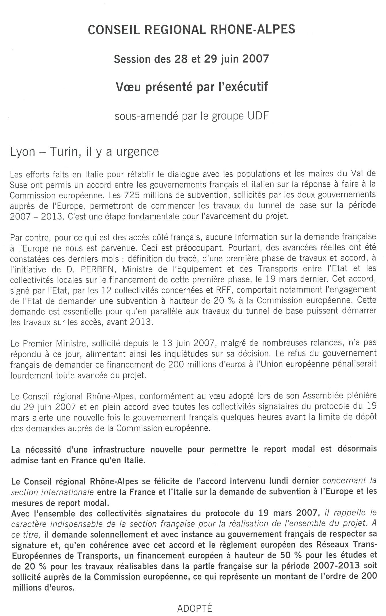Voeu pour le Lyon-Turin